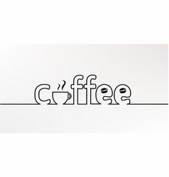 coffee line text vector image