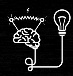 Invention - electricity of brain light bulb and vector image vector image