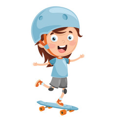 of kid skate boarding vector image