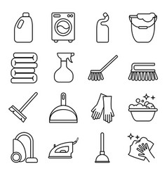 set of isolated cleaning icon white vector image