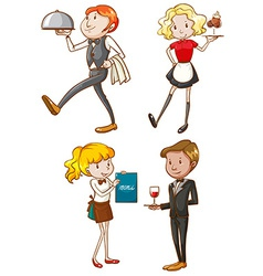 Simple sketches of the waiters and waitresses vector image