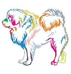Colorful decorative standing portrait of tibetan vector