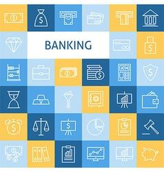 Flat Line Art Modern Money Finance and Banking vector image vector image