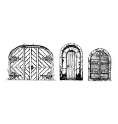 middle age vintage doors vector image