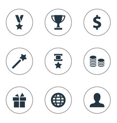 set of simple trophy icons vector image