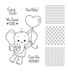 Baby elephant outline design set seamless patterns vector image vector image