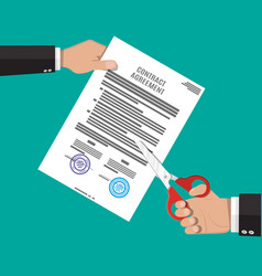 Businessman hand with scissors cutting contract vector