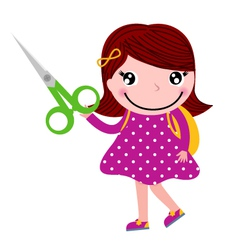 Creative girl with scissors isolated on white vector image vector image
