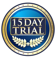 Fifteen Day Trial Blue Label vector image