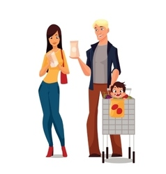 Purchase of food products cartoon young family vector image