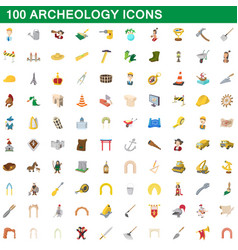 100 archeology icons set cartoon style vector image