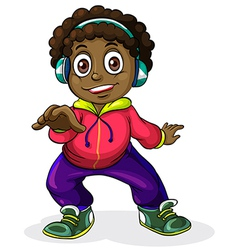 A young Black man listening to the music vector image