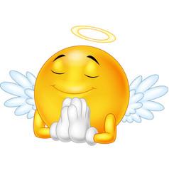 angel emoticon isolated on white background vector image