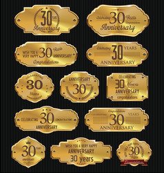 Anniversary golden labels collection 30 years vector