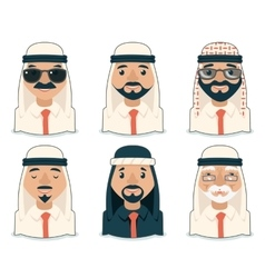 Arab Avatars Businessman Cartoon Design Character vector image