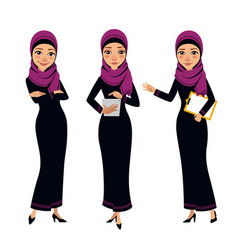 Arab business women characters four poses vector