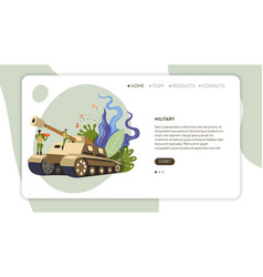 army soldiers in uniform and tank web page vector image