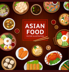 asian food traditional national dishes on a vector image