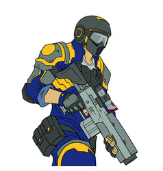 assault policeman in a helmet with a gun vector image