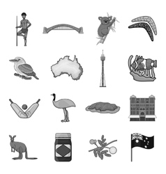 Australia set icons in monochrome style Big vector image