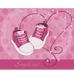 Baby girl shoes arrival card vector