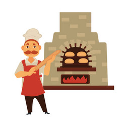 Baker with mustache and baguette stands near brick vector