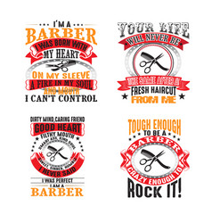 barber quote set for graphic goods good for print vector image