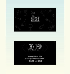barber shop visit card template with line icons vector image