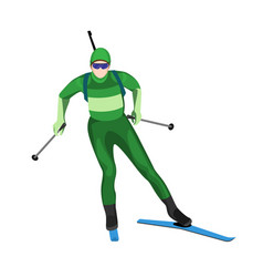 Biathlete skier with two lightweight poles on skis vector
