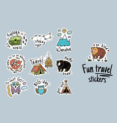 big set of cartoon sticker for camping vector image