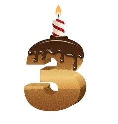 Birthday cake font - number three vector