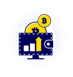 bitcoin falling down in wallet the income vector image