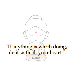 Buddha with motivational quote vector