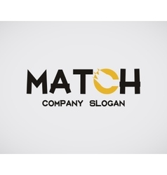 Burning match logo template Fire in text concept vector