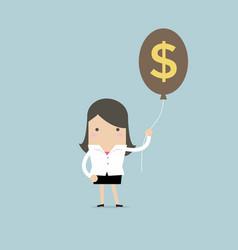 businesswoman holding money dollar sign balloon vector image
