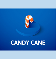 Candy cane isometric icon isolated on color vector