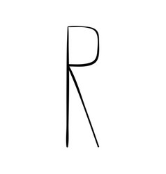 capital letter r painted by brush vector image