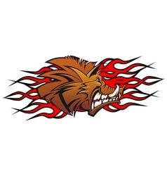 Cartoon wild boar head vector