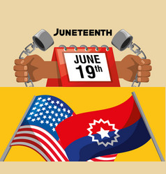 Chain in the hands and calendar with flags to vector