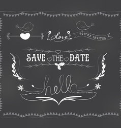 Chalkboard wedding graphic set vector