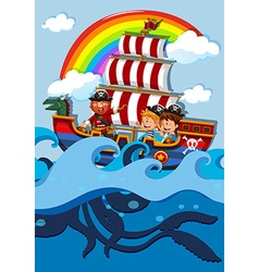 Children on boat with pirate vector image