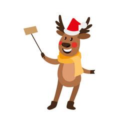 christmas reindeer making selfie by stick vector image