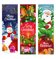 christmas wreath santa and snowman with gifts vector image