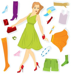 Clothes sticker and girl vector