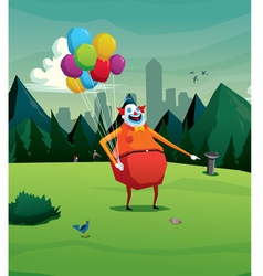Clown in park laughing vector
