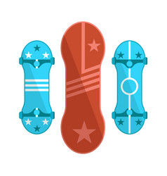 colorful skate boards set isolated bright icons vector image