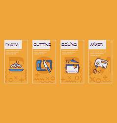 cooking accessories yellow color linear icons set vector image