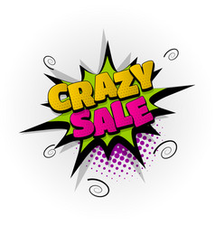 Crazy sale discount comic book text pop art vector