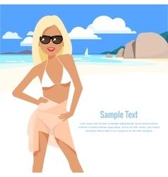 cute girl in a bikini and pareo on the beach vector image