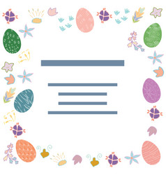 decorated easter eggs text frame vector image